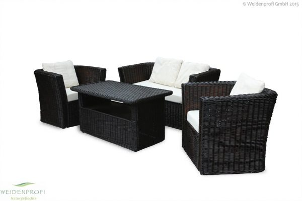 Weidenmöbel MODERNO, Lounge-Sitzgruppe, 2 Stühle, 2-Sitzer, Tisch, 4-tlg