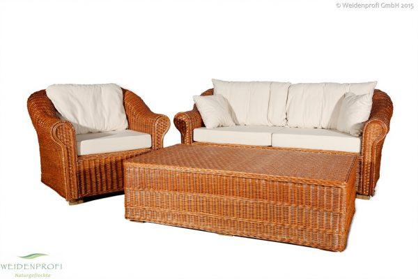 Weidenmöbel CLASSICO, Lounge-Sitzgruppe, 3 tlg., 1 Stuhl, 2-Sitzer, Tisch, 3-tlg