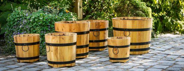 Eichenfass, Pflanzkübel aus Eiche, Holzfass, 10-100 Liter